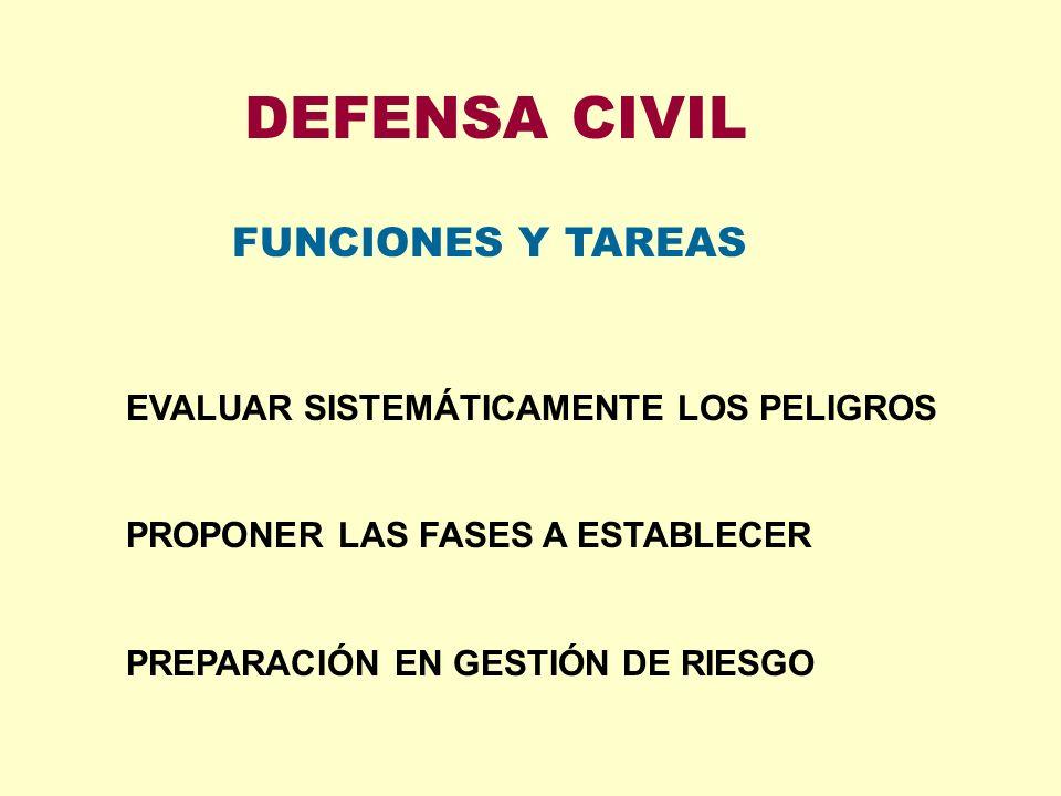 DEFENSA CIVIL FUNCIONES Y TAREAS EVALUAR SISTEMÁTICAMENTE LOS PELIGROS