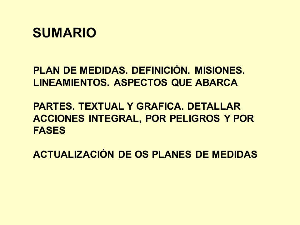 SUMARIO PLAN DE MEDIDAS. DEFINICIÓN. MISIONES.
