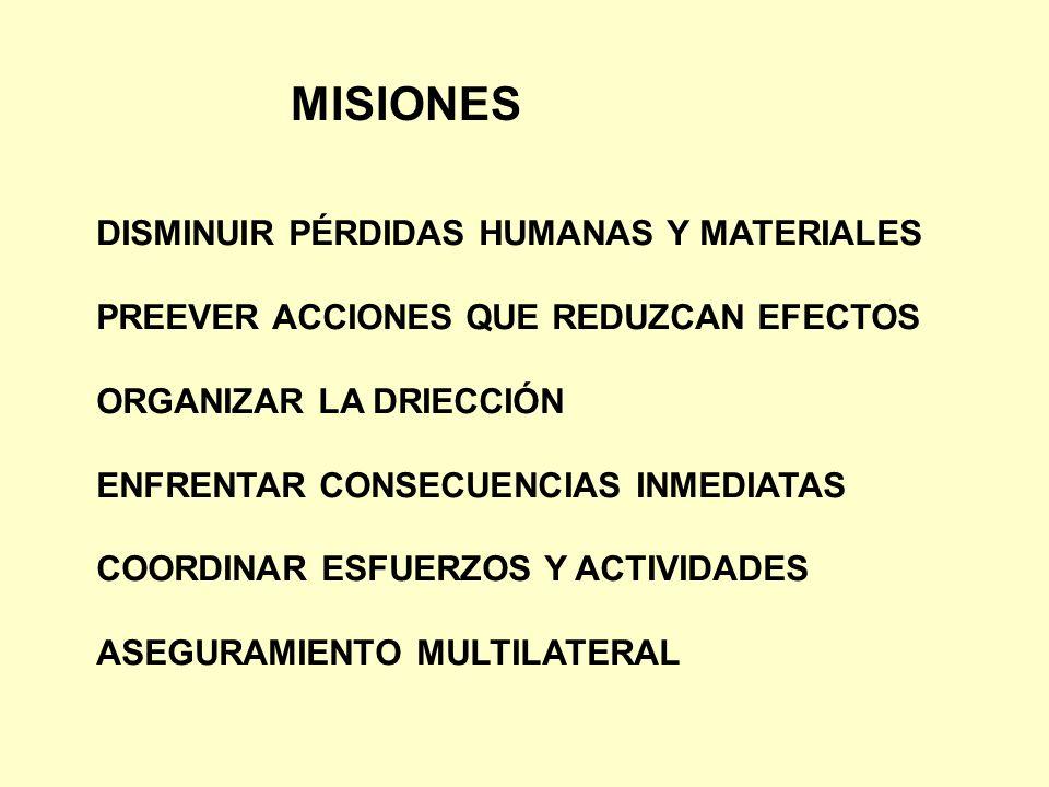 MISIONES DISMINUIR PÉRDIDAS HUMANAS Y MATERIALES