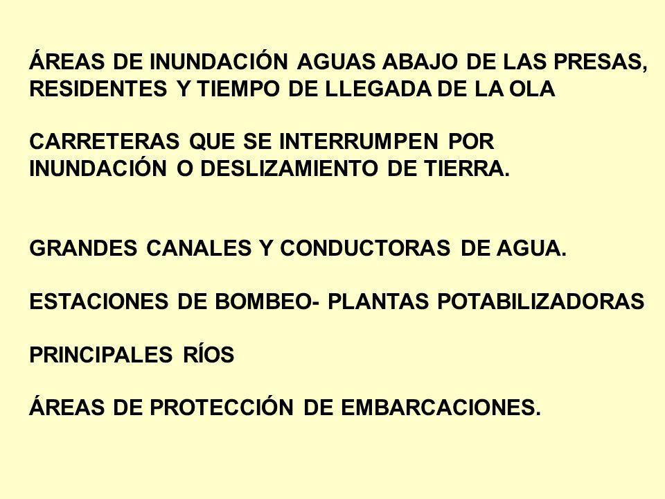 ÁREAS DE INUNDACIÓN AGUAS ABAJO DE LAS PRESAS,