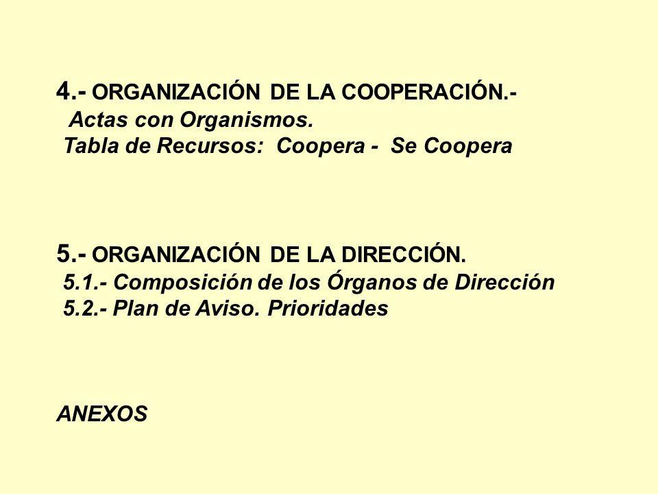 4.- ORGANIZACIÓN DE LA COOPERACIÓN.-