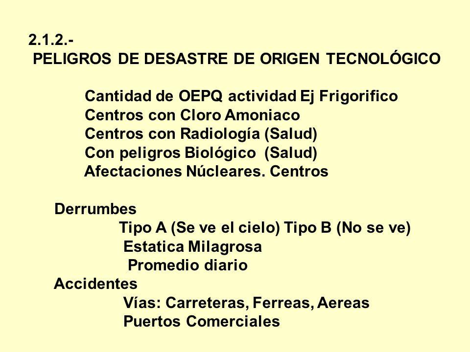 2.1.2.- PELIGROS DE DESASTRE DE ORIGEN TECNOLÓGICO. Cantidad de OEPQ actividad Ej Frigorifico. Centros con Cloro Amoniaco.