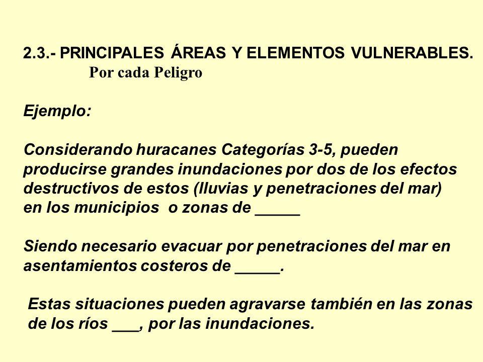 2.3.- PRINCIPALES ÁREAS Y ELEMENTOS VULNERABLES.