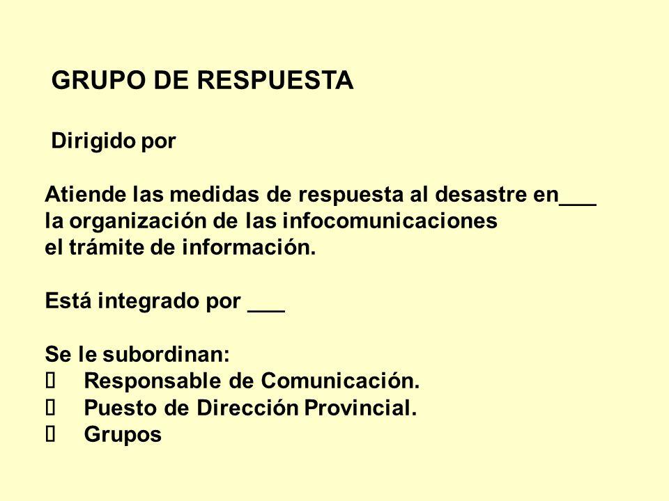 GRUPO DE RESPUESTA Dirigido por. Atiende las medidas de respuesta al desastre en___. la organización de las infocomunicaciones.