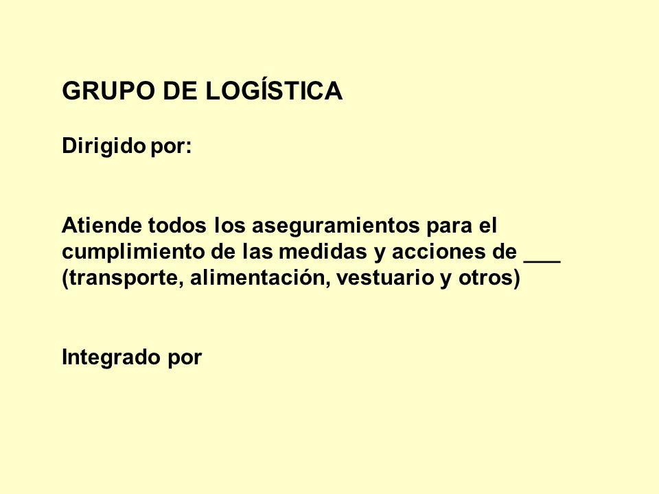GRUPO DE LOGÍSTICA Dirigido por: