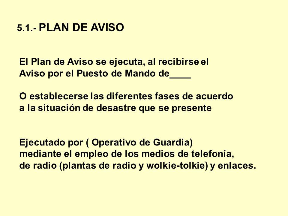 5.1.- PLAN DE AVISO El Plan de Aviso se ejecuta, al recibirse el. Aviso por el Puesto de Mando de____.
