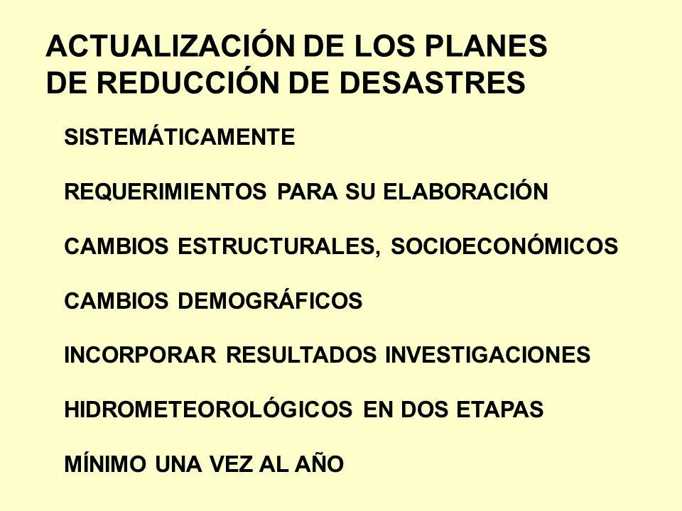 ACTUALIZACIÓN DE LOS PLANES DE REDUCCIÓN DE DESASTRES