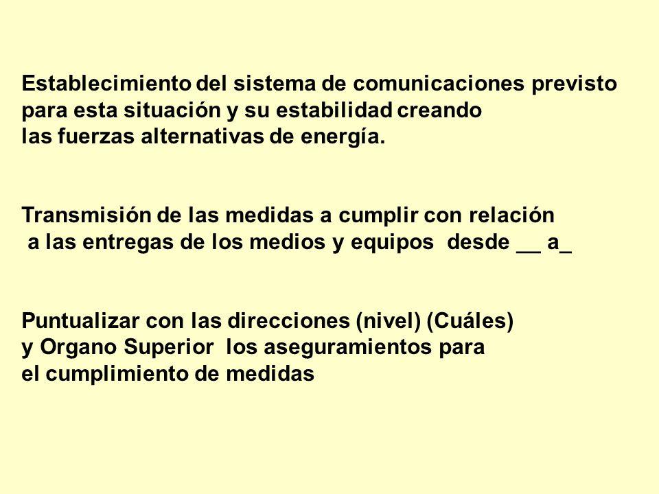 Establecimiento del sistema de comunicaciones previsto