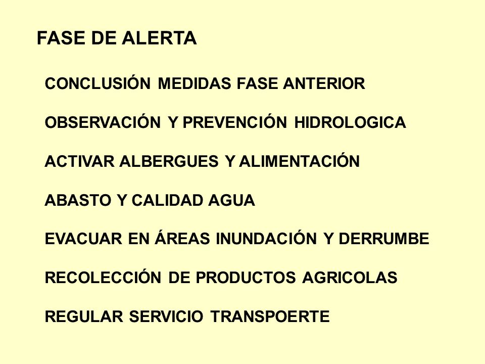 FASE DE ALERTA CONCLUSIÓN MEDIDAS FASE ANTERIOR