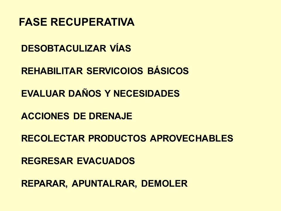 FASE RECUPERATIVA DESOBTACULIZAR VÍAS REHABILITAR SERVICOIOS BÁSICOS