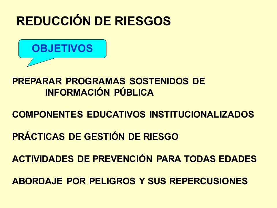 REDUCCIÓN DE RIESGOS OBJETIVOS PREPARAR PROGRAMAS SOSTENIDOS DE