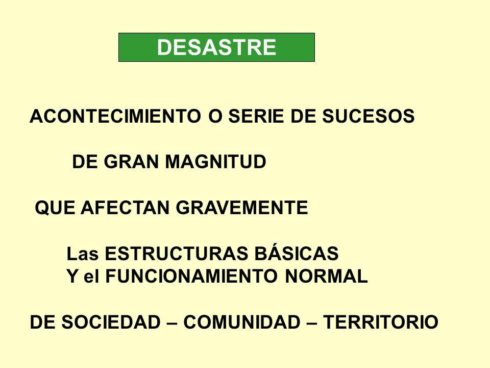 DESASTRE ACONTECIMIENTO O SERIE DE SUCESOS DE GRAN MAGNITUD