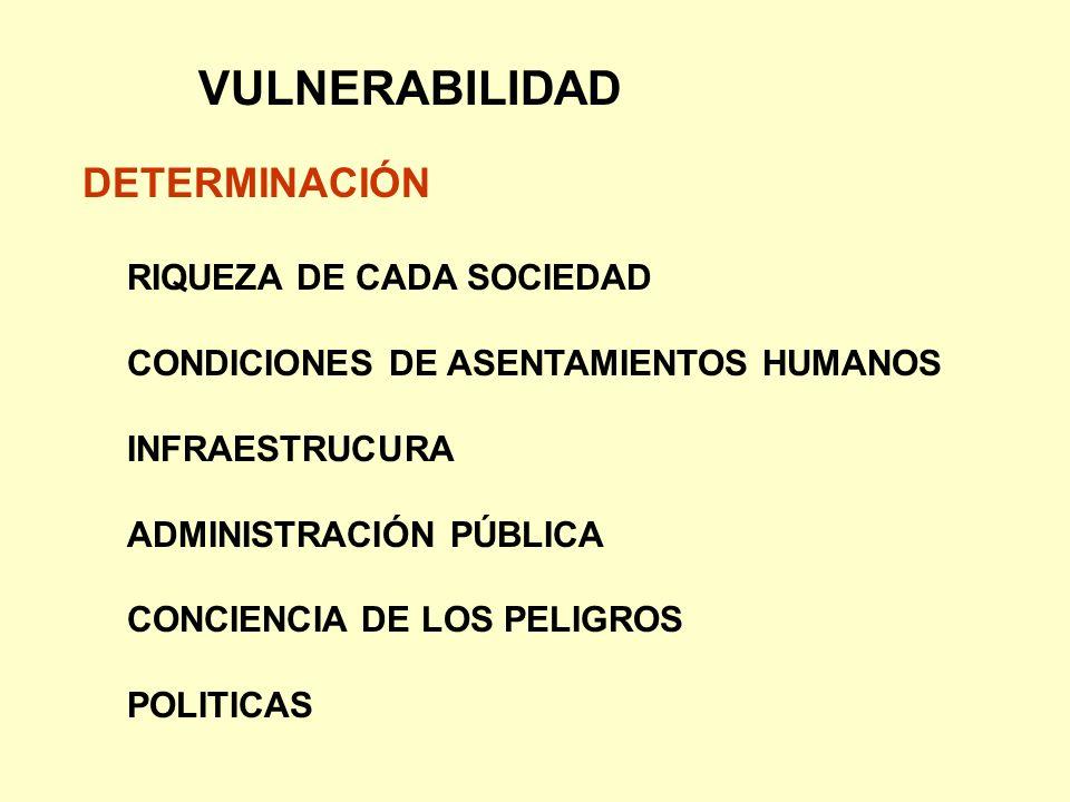 VULNERABILIDAD DETERMINACIÓN RIQUEZA DE CADA SOCIEDAD