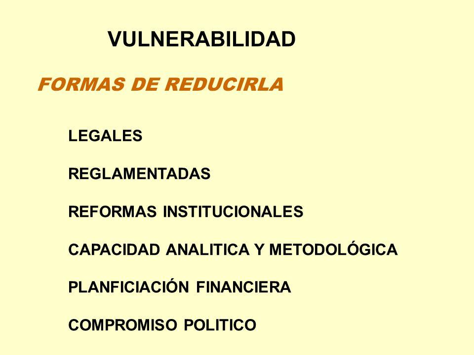 VULNERABILIDAD FORMAS DE REDUCIRLA LEGALES REGLAMENTADAS