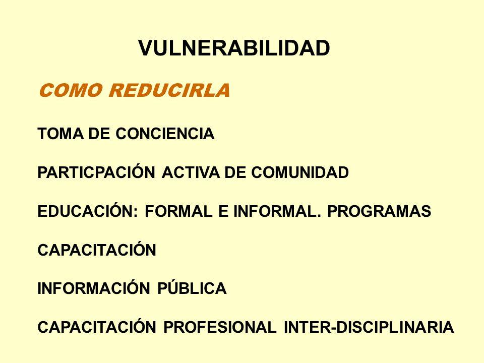 VULNERABILIDAD COMO REDUCIRLA TOMA DE CONCIENCIA