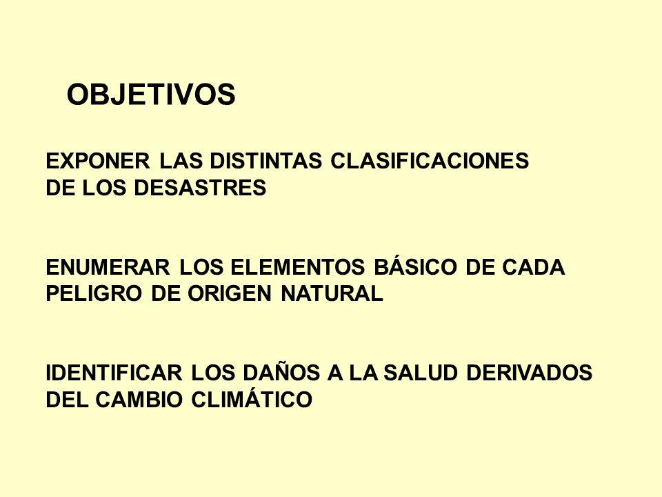 OBJETIVOS EXPONER LAS DISTINTAS CLASIFICACIONES DE LOS DESASTRES