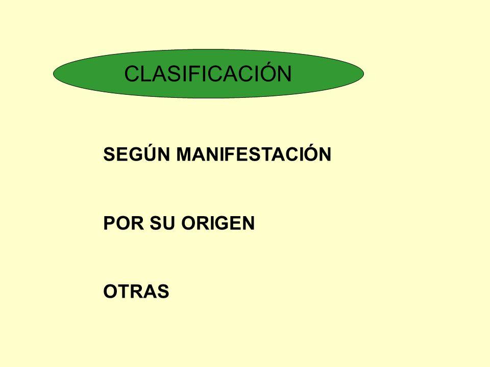 CLASIFICACIÓN SEGÚN MANIFESTACIÓN POR SU ORIGEN OTRAS