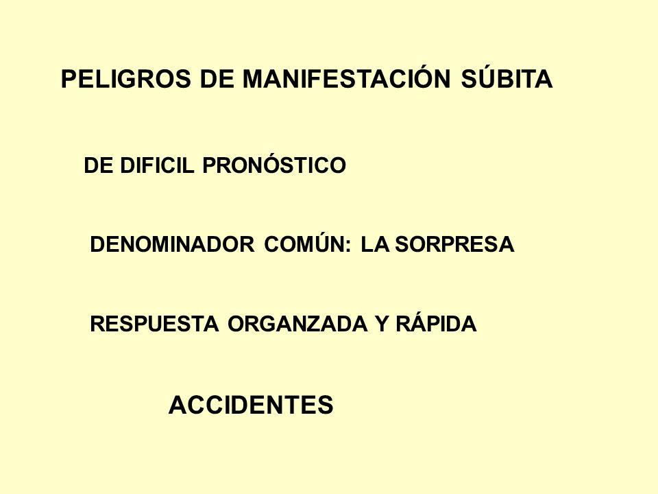 PELIGROS DE MANIFESTACIÓN SÚBITA