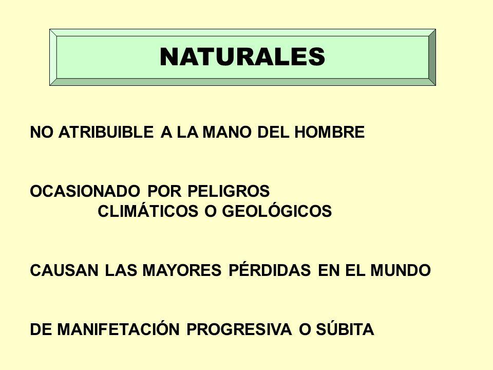 NATURALES NO ATRIBUIBLE A LA MANO DEL HOMBRE OCASIONADO POR PELIGROS