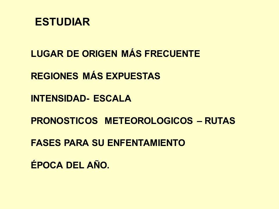 ESTUDIAR LUGAR DE ORIGEN MÁS FRECUENTE REGIONES MÁS EXPUESTAS