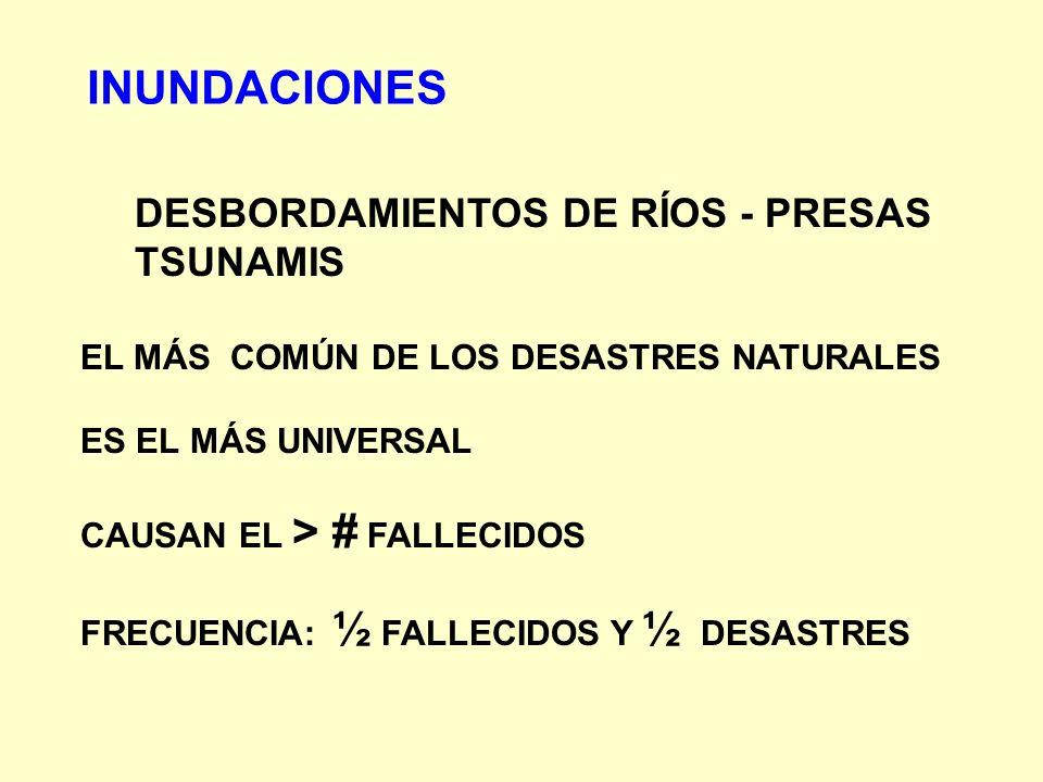 INUNDACIONES DESBORDAMIENTOS DE RÍOS - PRESAS TSUNAMIS