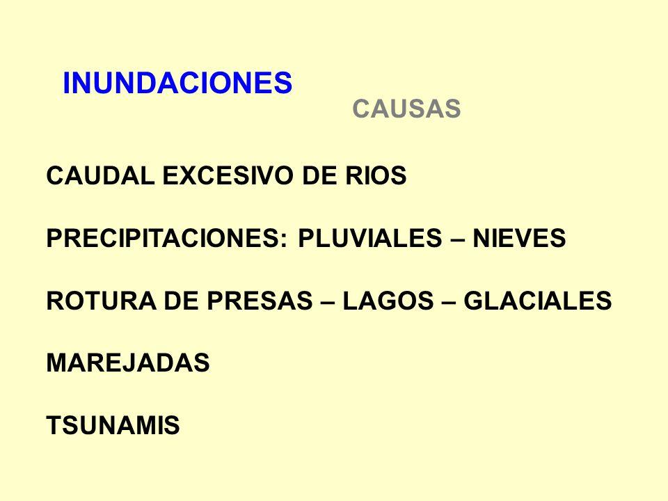 INUNDACIONES CAUSAS CAUDAL EXCESIVO DE RIOS