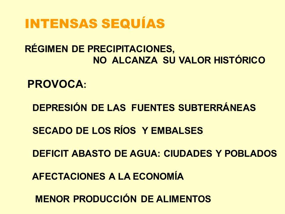 INTENSAS SEQUÍAS RÉGIMEN DE PRECIPITACIONES,