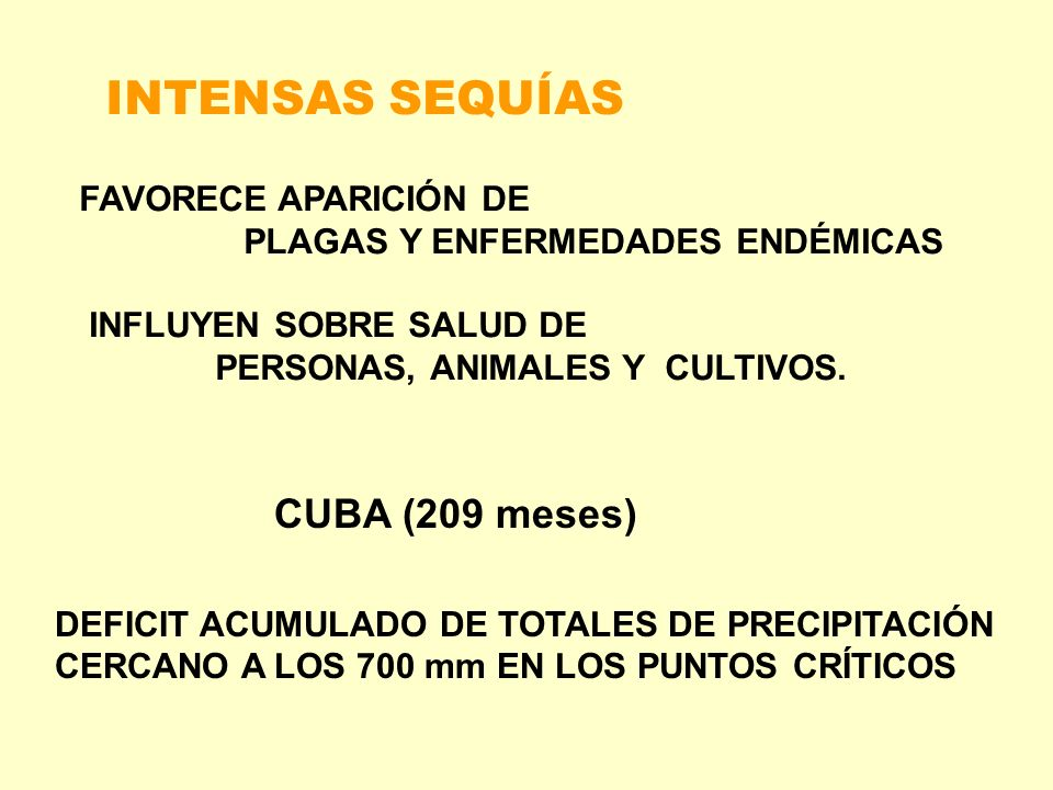 INTENSAS SEQUÍAS CUBA (209 meses) FAVORECE APARICIÓN DE