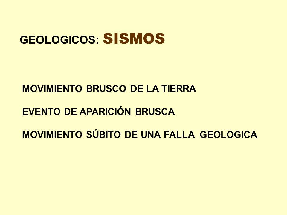 GEOLOGICOS: SISMOS MOVIMIENTO BRUSCO DE LA TIERRA