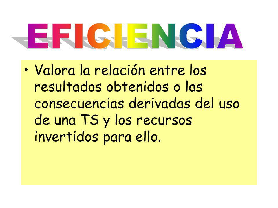 EFICIENCIA Valora la relación entre los resultados obtenidos o las consecuencias derivadas del uso de una TS y los recursos invertidos para ello.