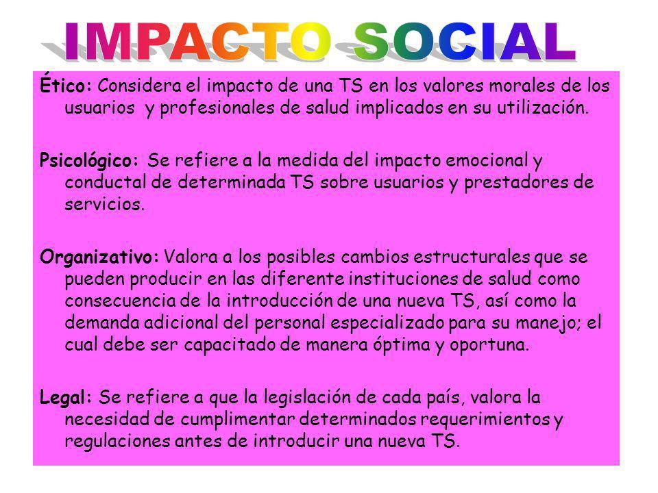 IMPACTO SOCIAL Ético: Considera el impacto de una TS en los valores morales de los usuarios y profesionales de salud implicados en su utilización.