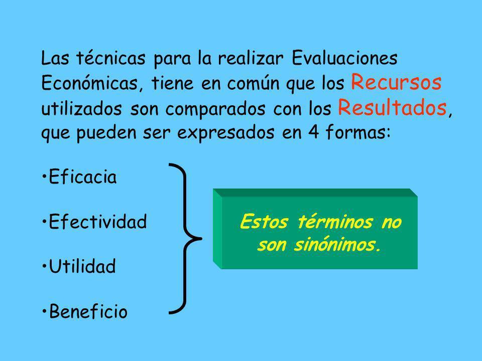 Las técnicas para la realizar Evaluaciones Económicas, tiene en común que los Recursos utilizados son comparados con los Resultados, que pueden ser expresados en 4 formas:
