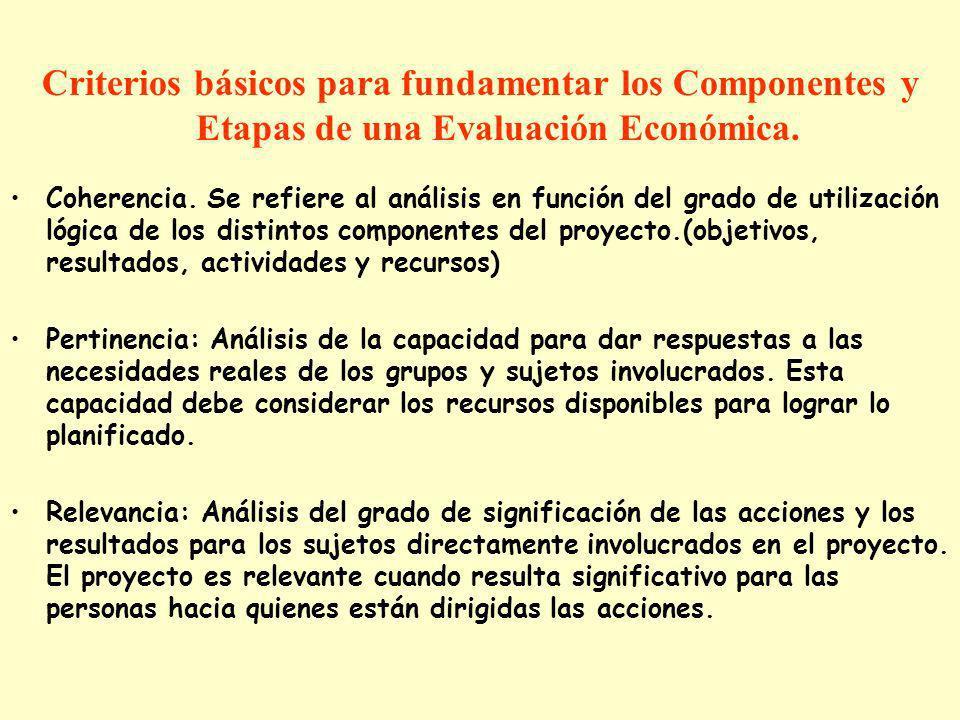 Criterios básicos para fundamentar los Componentes y Etapas de una Evaluación Económica.