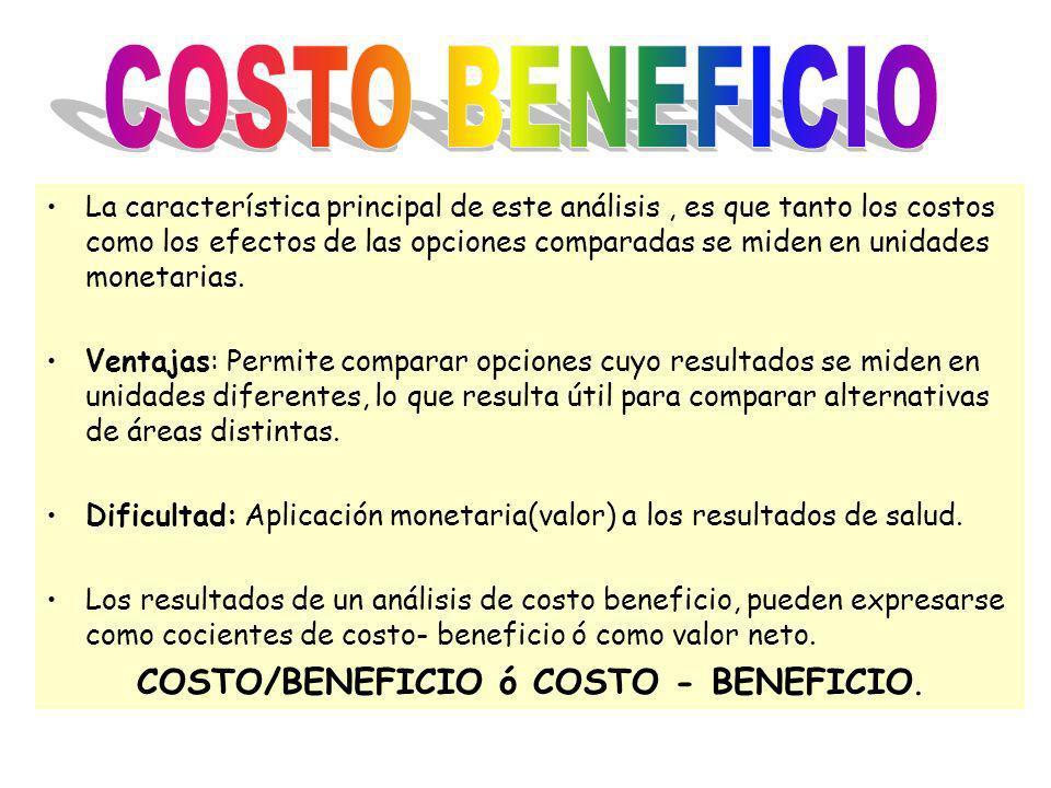 COSTO/BENEFICIO ó COSTO - BENEFICIO.