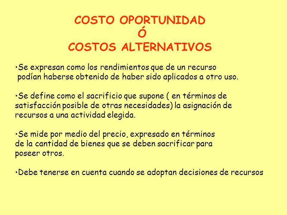 COSTO OPORTUNIDAD Ó COSTOS ALTERNATIVOS