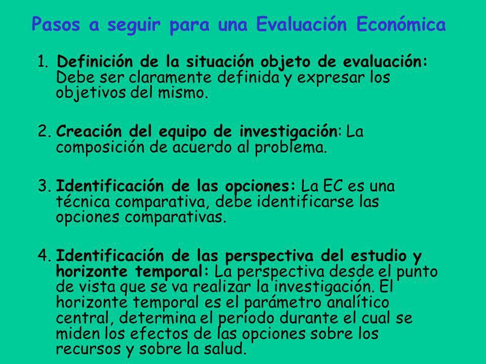 Pasos a seguir para una Evaluación Económica
