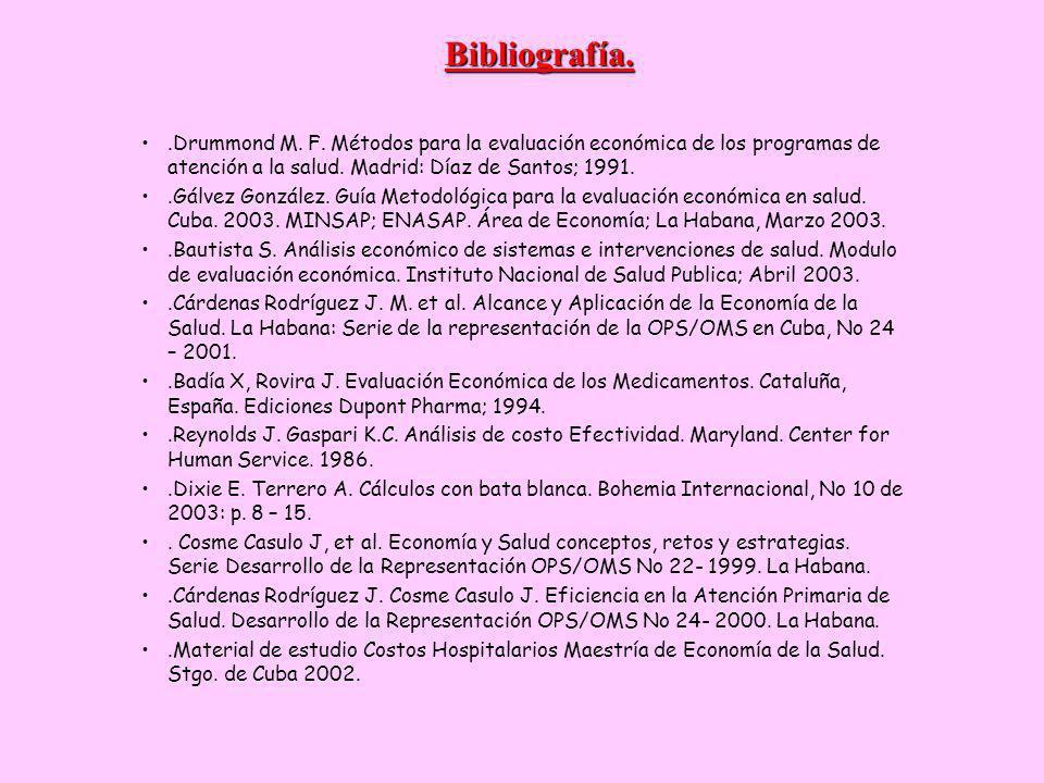 Bibliografía. .Drummond M. F. Métodos para la evaluación económica de los programas de atención a la salud. Madrid: Díaz de Santos; 1991.