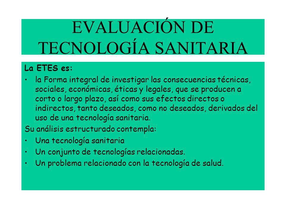 EVALUACIÓN DE TECNOLOGÍA SANITARIA