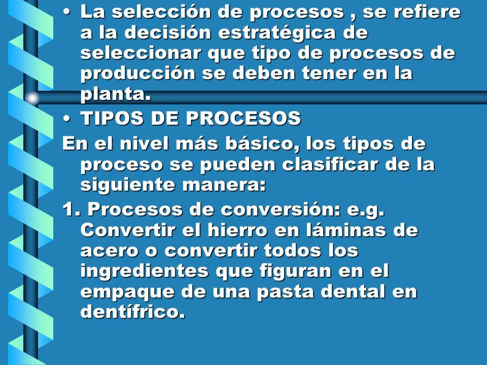La selección de procesos , se refiere a la decisión estratégica de seleccionar que tipo de procesos de producción se deben tener en la planta.