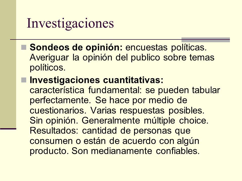 Investigaciones Sondeos de opinión: encuestas políticas. Averiguar la opinión del publico sobre temas políticos.