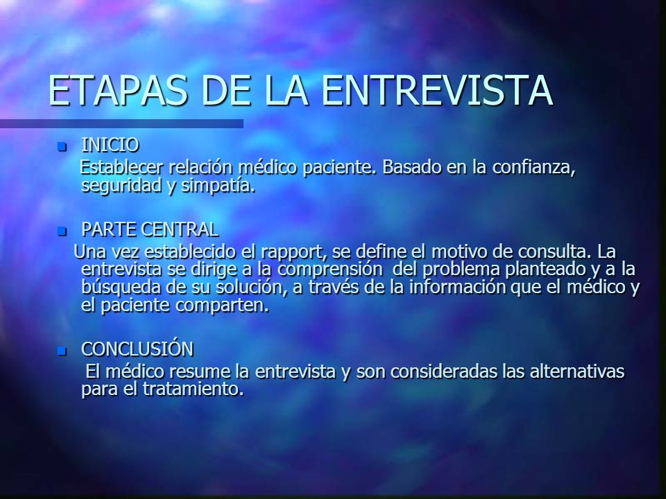 ETAPAS DE LA ENTREVISTA