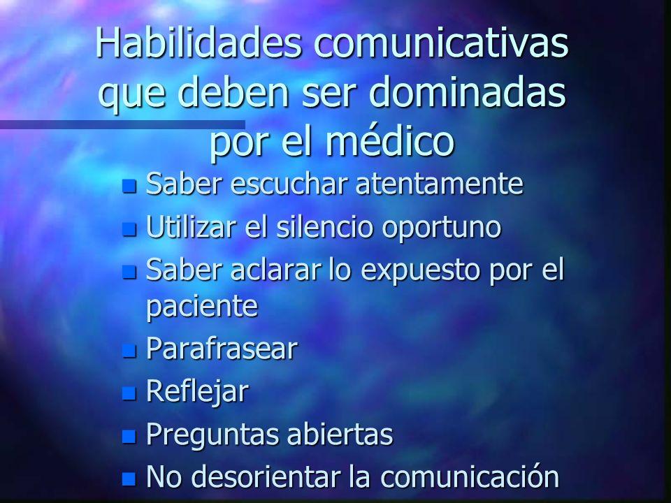 Habilidades comunicativas que deben ser dominadas por el médico