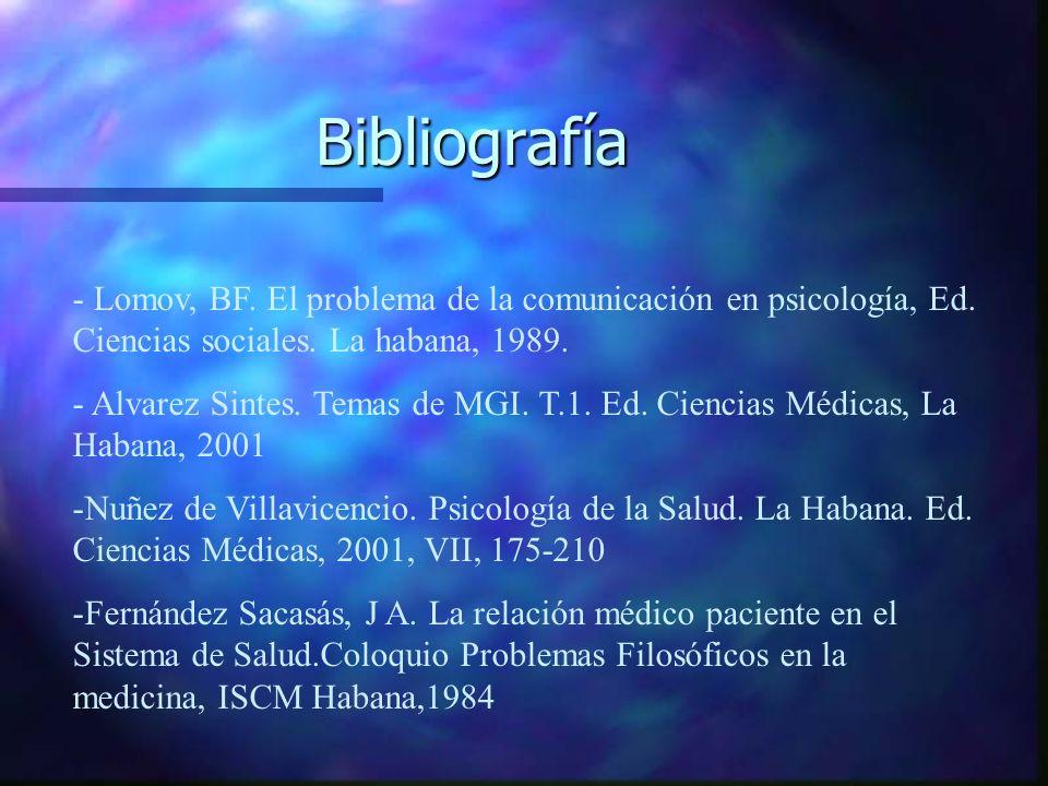 Bibliografía - Lomov, BF. El problema de la comunicación en psicología, Ed. Ciencias sociales. La habana, 1989.