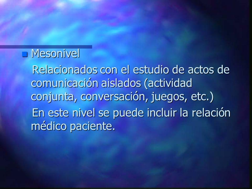 Mesonivel Relacionados con el estudio de actos de comunicación aislados (actividad conjunta, conversación, juegos, etc.)