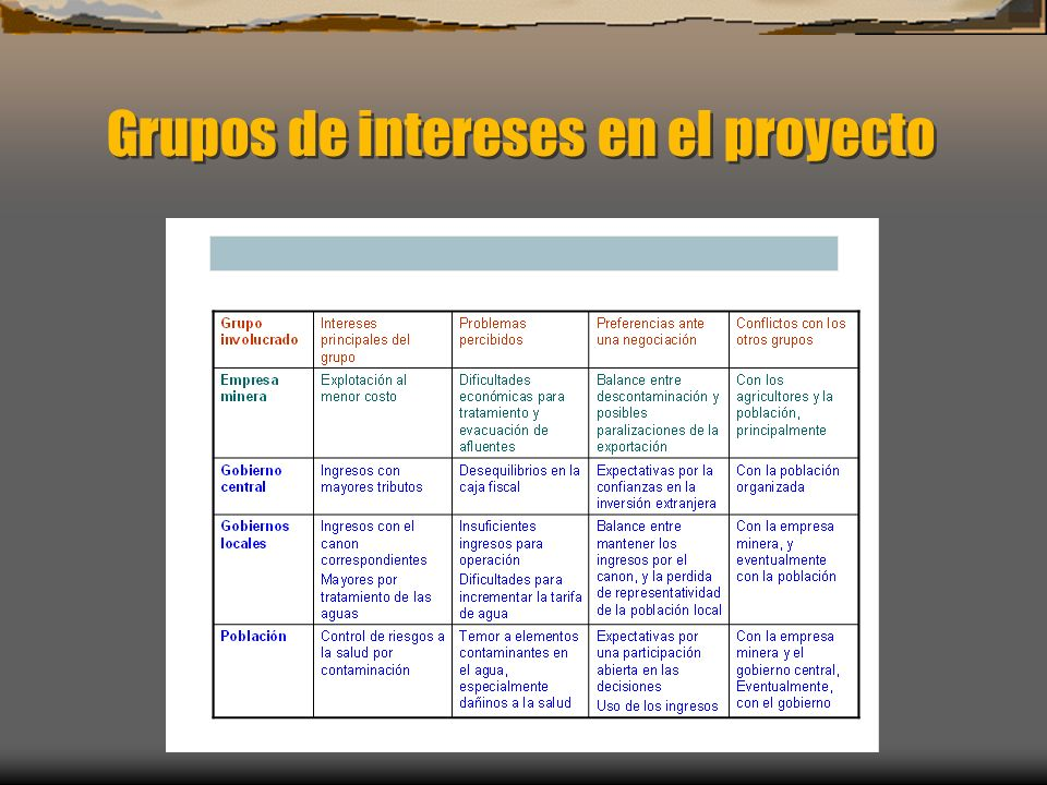 Grupos de intereses en el proyecto