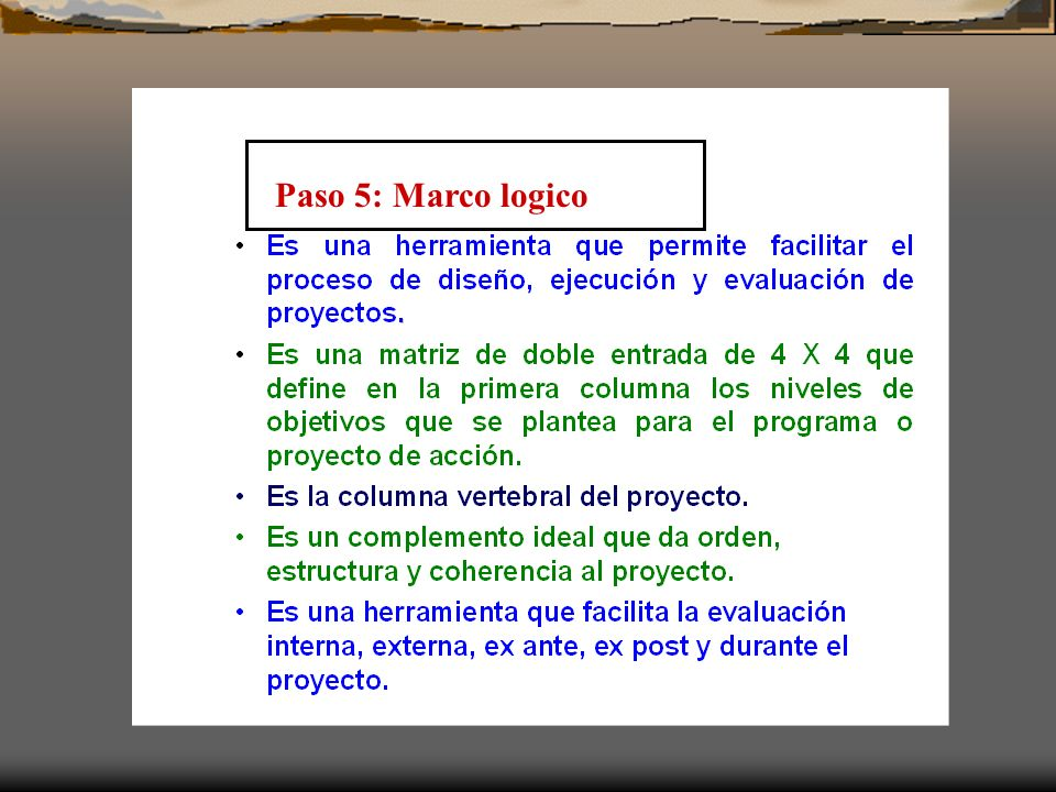 Paso 5: Marco logico