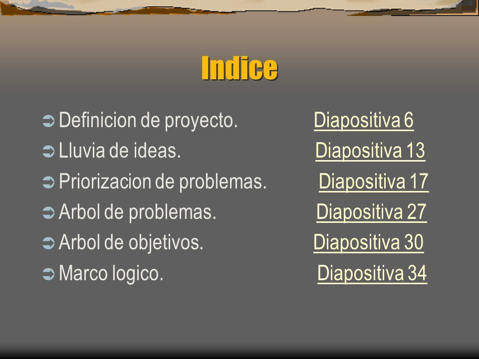 Indice Definicion de proyecto. Diapositiva 6