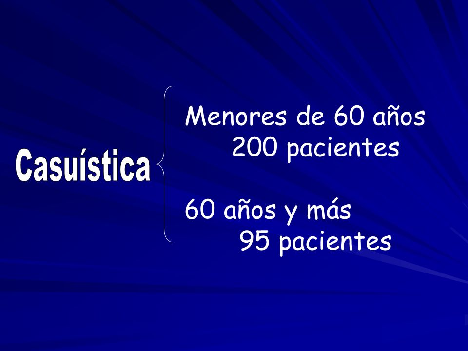 Menores de 60 años 200 pacientes 60 años y más 95 pacientes Casuística