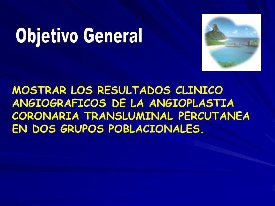 Objetivo General MOSTRAR LOS RESULTADOS CLINICO ANGIOGRAFICOS DE LA ANGIOPLASTIA CORONARIA TRANSLUMINAL PERCUTANEA EN DOS GRUPOS POBLACIONALES.