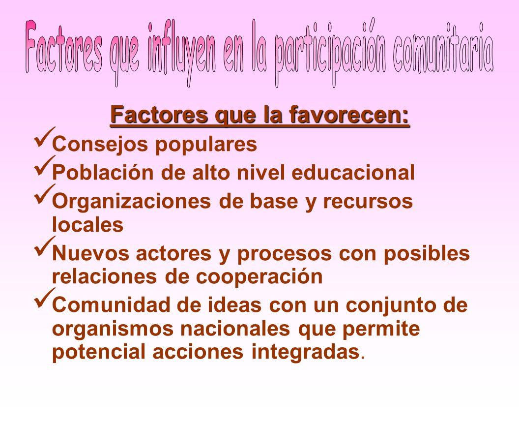 Factores que influyen en la participación comunitaria